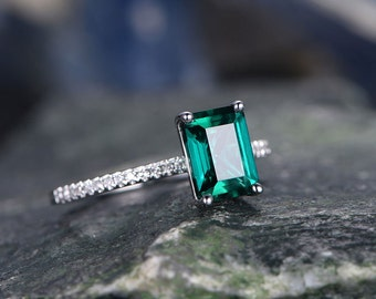 Green Emerald engagement ring 14k white gold-handmade Diamond ring-Stacking band-8x6mm Emerald cut gemstone promise ring-Gift for her