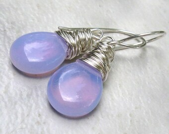 Lilac Periwinkle Opalite Earrings, Sterling Silver Earwires, Wire Wrapped Briolettes - Color Changes Blue, Pink, Purple - Gift for Her