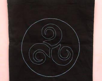 Tote bag, bag, Breton embroidery, Celtic Triskel