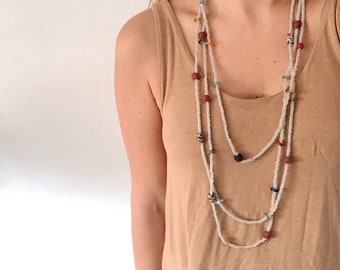 Vintage Extra Long African Glass Beaded Necklace