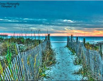 Sunset, Beach, Sea Oats, Dunes, Fences, Ocean, North Carolina