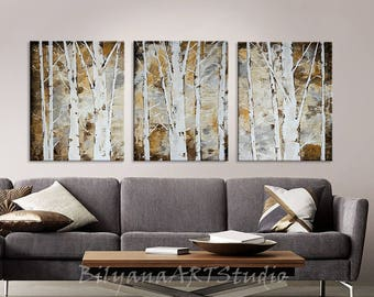 White Trees Triptych, Original Abstract Tree Painting by artist Bilyana Stoyanova, Neutral Wall Art, Commission painting, Palette Knife