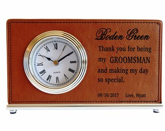 Groomsman Gift - Gifts for Groomsmen - Wedding Thank You Personalized - Best Man Desk Clock, LCG001