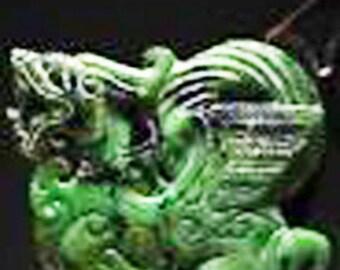 "Chinese Old Handwork Carved Green Jade Beast Pendant 3"""