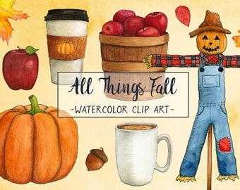 Fall Watercolor Clip Art - Fall Clipart - Fall Graphics - Hand Drawn Fall Graphics - Hand Painted Fall Graphics - Fall Clip Art Set