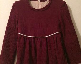 Double gauze with pleats blouse