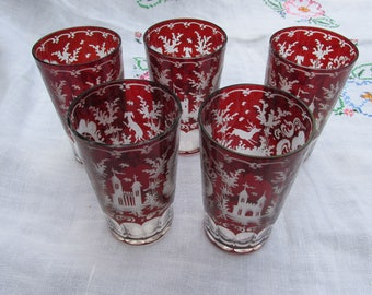 Bohemian Glass - Tumblers - Stag and Castle - Ruby Glass - Set of 5 - Antique