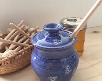 handmade pottery honey jar with bee press, ceramic honey pot, wheel thrown honey canister,  pottery gift, blue pottery