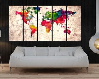 large world map push pin canvas print, large wall art, extra large world map for travel wall art, colorful watercolor wall decor No:10s03