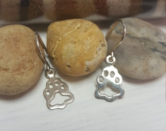 Sterling Silver hang/drop Earrings with  Lion Paw Print Frame - Small