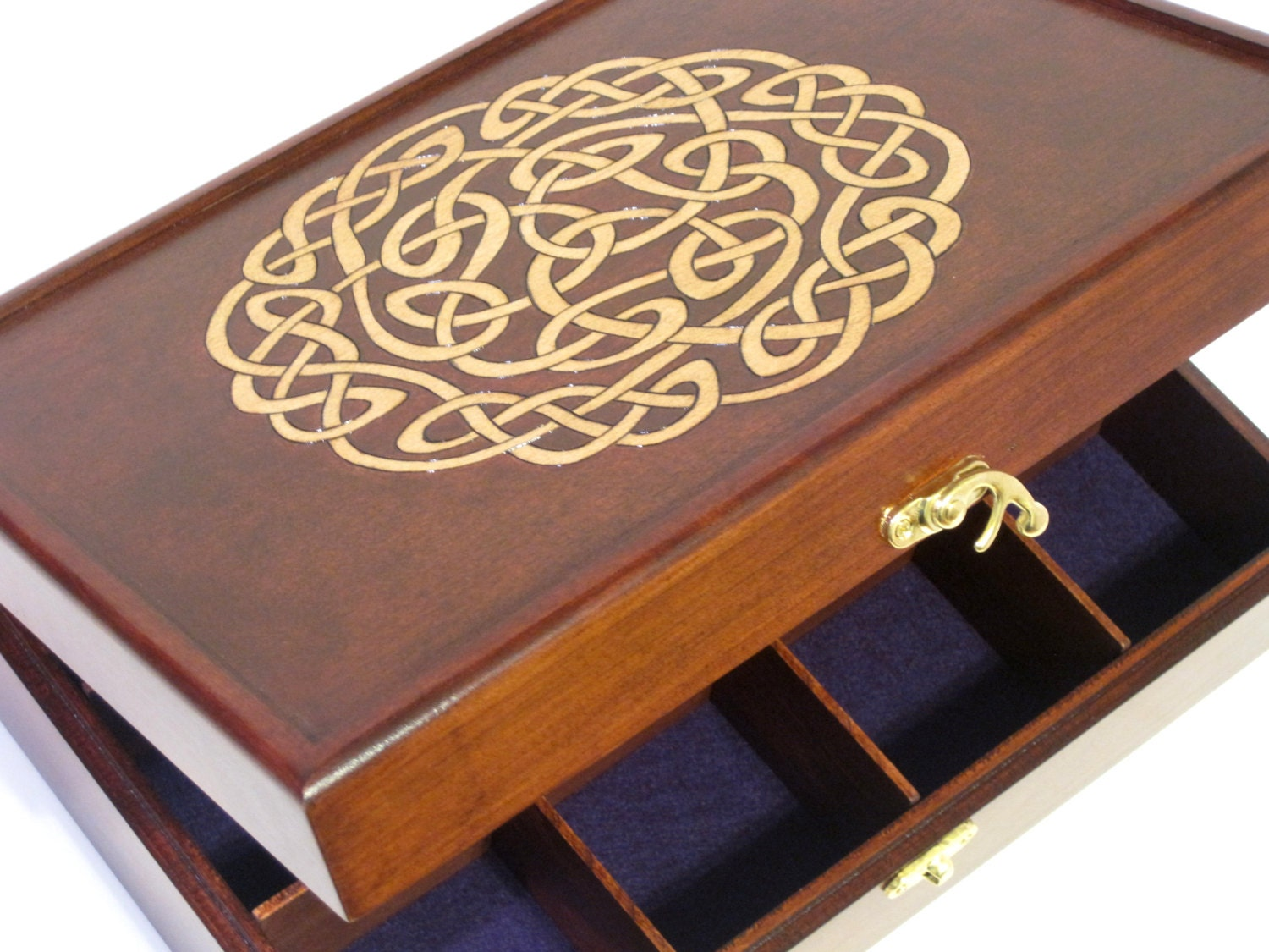 Celtic Knot Woodburned Tea Chest or Watch Box 12 Compartments
