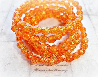 10 Golden Orange Round Czech Glass Beads Faceted Fire Polished Beads 6 mm