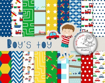 Car digital papers, Transportation Printable Papers, Boys paper, Toy papers, truck, fire truck, police car, planner sticker, blue, red