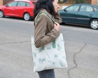 Music tote bag,musician tote bag,canvas tote bag,musician bag,instruments bag,music bag,music tote,tote bag,music school bag,shopping bag