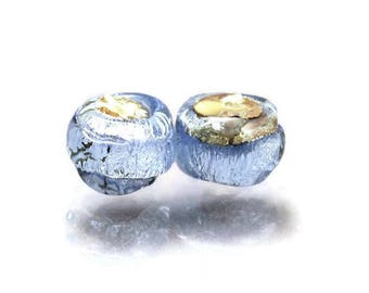 Lampwork glass bead pair Made to ORDER blue earring pair Lavender lampwork beads Blue round beads Small beads Glam Rocks Anne Londez  SRA