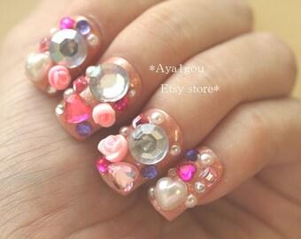 Deco nails, lolita fashion, sweet lolita, kawaii nails, 3D nails, Japanese nail art, Harajuku, Tokyo fashion, rose, pink, gothic lolita,