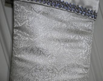 Victorian Christmas Stocking in Silver on White Brocade