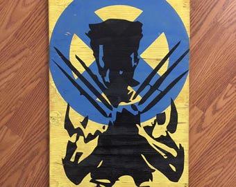 Handmade Wolverine Wood Wall Art