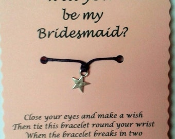 Be My Bridesmaid Wish Bracelet, Bridesmaid Invite, Bridesmaid Keepsake, Bridesmaid gift, Wedding Party, Bridal Party, Gift Bridesmaid