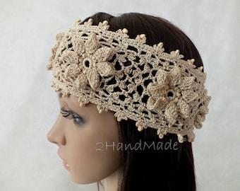 OOAK Irish Lace Crochet Headband Dreadlock Head Wrap beige Boho Wooden Beaded Women Wedding Bridal Cotton Hair Snood