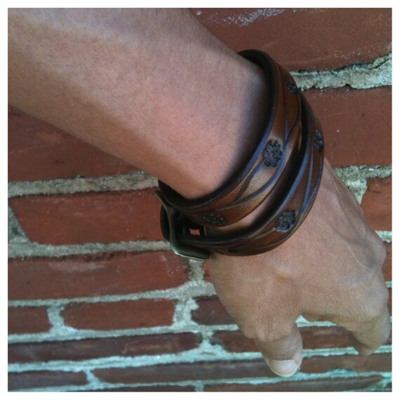 Double Wrap Flower-Vine Leather Cuff
