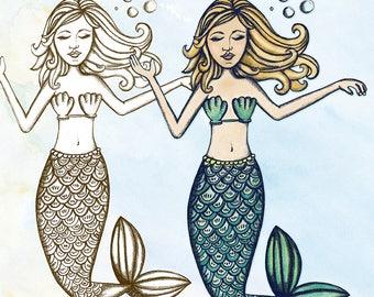 Mermaid Digital Stamp & Clip Art, Shaded Outline Line Art, Printable Instant Download, DIY Coloring Page, Card Making