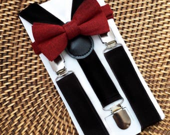 Maroon Baby Bow Tie, Baby Bow Tie, Maroon Toddler Bow Tie, Maroon Ring Bearer, Burgundy Bow Tie & Black Suspender Set- 6 Mo to 5 yrs