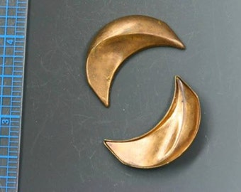 """Vintage medium hollow moon stamping. 1 1/4"""" x 3/4"""". 2 in a pack. Beadwork, Jewelry making, Jewelry supply."""