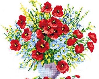 Cross Stitch Kit Poppy bouquet