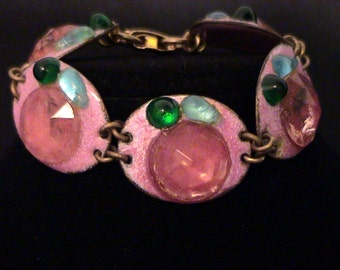 Rare RUTH BUOL Pink Fused Glass & Enamel on Copper Bracelet