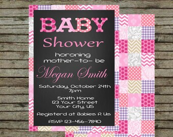 Quilted Baby Shower Invitation