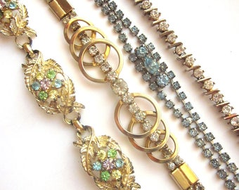 Vintage Rhinestone Bracelets Jewelry Lot