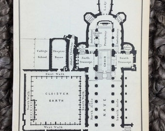 1897 Gloucester Cathedral Floor Plan [3.8 x 5.8 in] 11th Century, Tomb of King Edward II, St Peter, Gothic Architecture, Romanesque