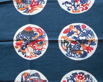 Asian Theme Scarf  Navy and Red Cotton