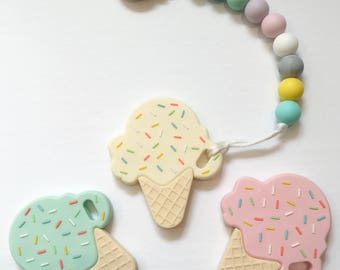 ICE CREAM TEETHER - Silicone Pacifier Clip, Soother Clip, Teether, Toy Leash, Teether, Baby Shower Gift, Baby Teether, Baby Gift