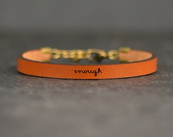 i am enough jewelry | leather bracelet | mental health awareness jewelry | encouragement bracelet | inspirational | recovery jewelry
