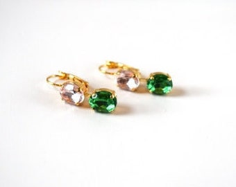 Pink and Green Crystal Earrings, Green and Pink Rhinestone Earring, Sorority Earring, Bridesmaid Jewelry Pink Green, Blush Pink Earring