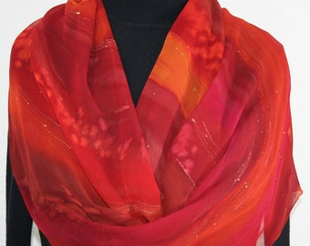Silk Scarf Hand Painted Chiffon Silk Shawl Red Burgundy Berry Hand Dyed Silk Scarf RED ROCKIES Large 14x72 Birthday Gift Scarf Gift-Wrapped