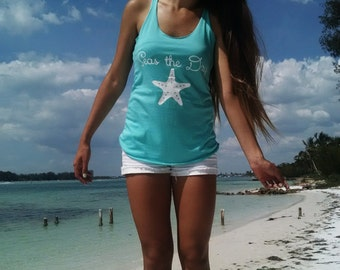 Seas the Day triblend racerback island blue tank top