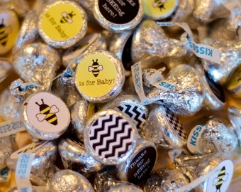88 Hershey Kiss Labels  - Stickers for Candy Kisses - Bee Gender Reveal Party