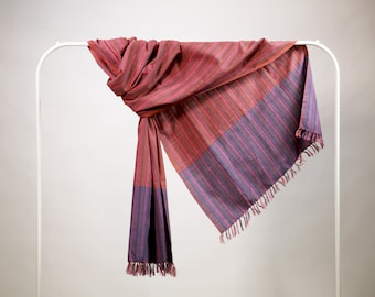 The 'Agni' Pink and Purple Scarf from Weaving Destination 100% Organic Cotton