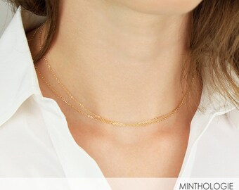 Simple Dainty Chain Necklace C1 • 14k Gold Fill, Sterling Silver, 14k Rose Gold Filled, Choker, Delicate Necklace, Simple Necklace