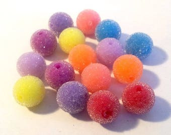Beads set in micro beads, 8 to 14mm, choose white or multicolored
