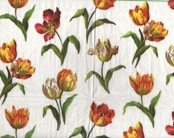 3283 set 2 yellow white tulips paper napkins