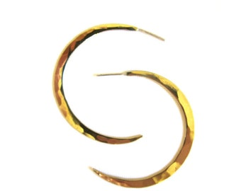 Crescent Moon Hoops Brass
