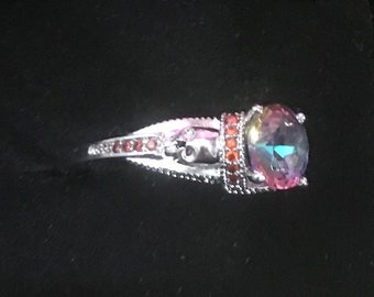 Sterling Silver Mystic Rainbow Skull Ring