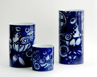 Rosenthal Bjørn Wiinblad peacock pattern set of three vases Studio Line trio mid century modern cylinder shape fine porcelain Germany c 1970