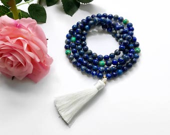 Blue Lapis Mala Necklace, Mala Necklace, Silk Tassel Mala, Mala, Mala Beads, 108 Mala Beads, Japa Mala, Yoga Jewelry, Prayer Beads, MLT8