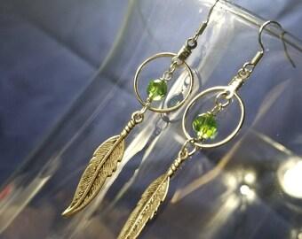 Feather & Hoop Earrings #GL3788