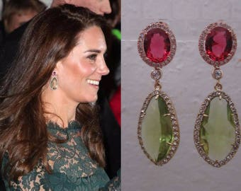 Kate Middleton Duchess of Cambridge Inspired Replikate Chandelier Pear Drop Green Amethyst Pink Tourmaline Halo Crystal Earrings